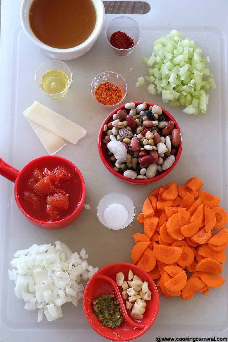 Ingredients for 15 beans soup
