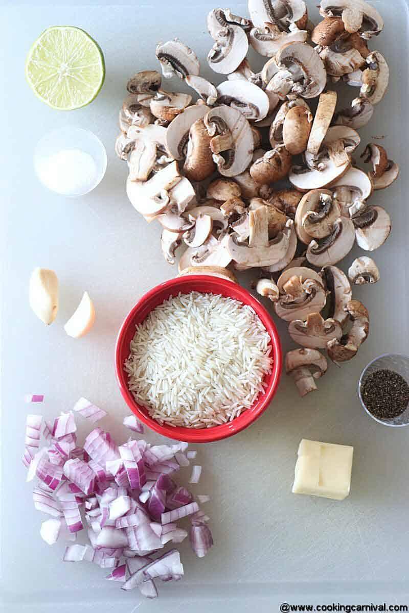 Ingredients for mushroom rice
