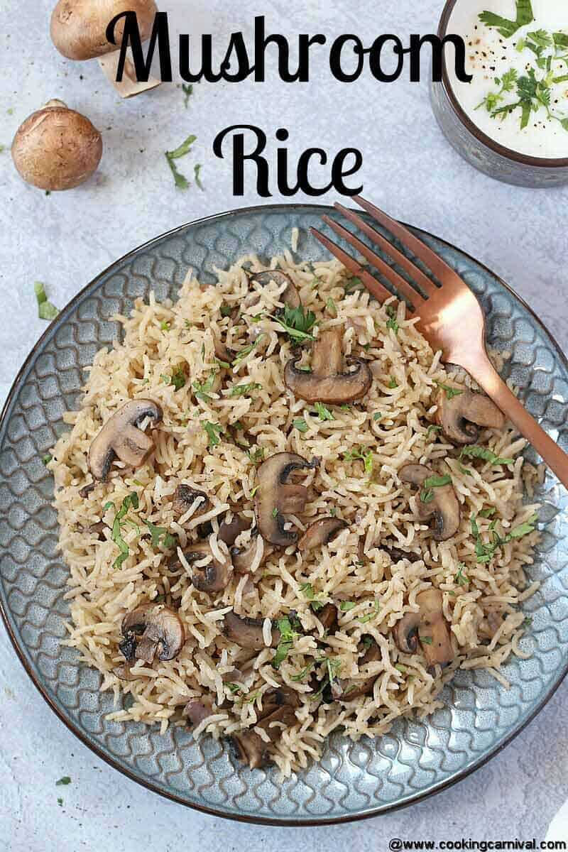 Mushroom rice in a plate clicked from top angle