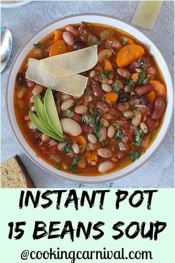 15 beans vegetarian soup in instant pot