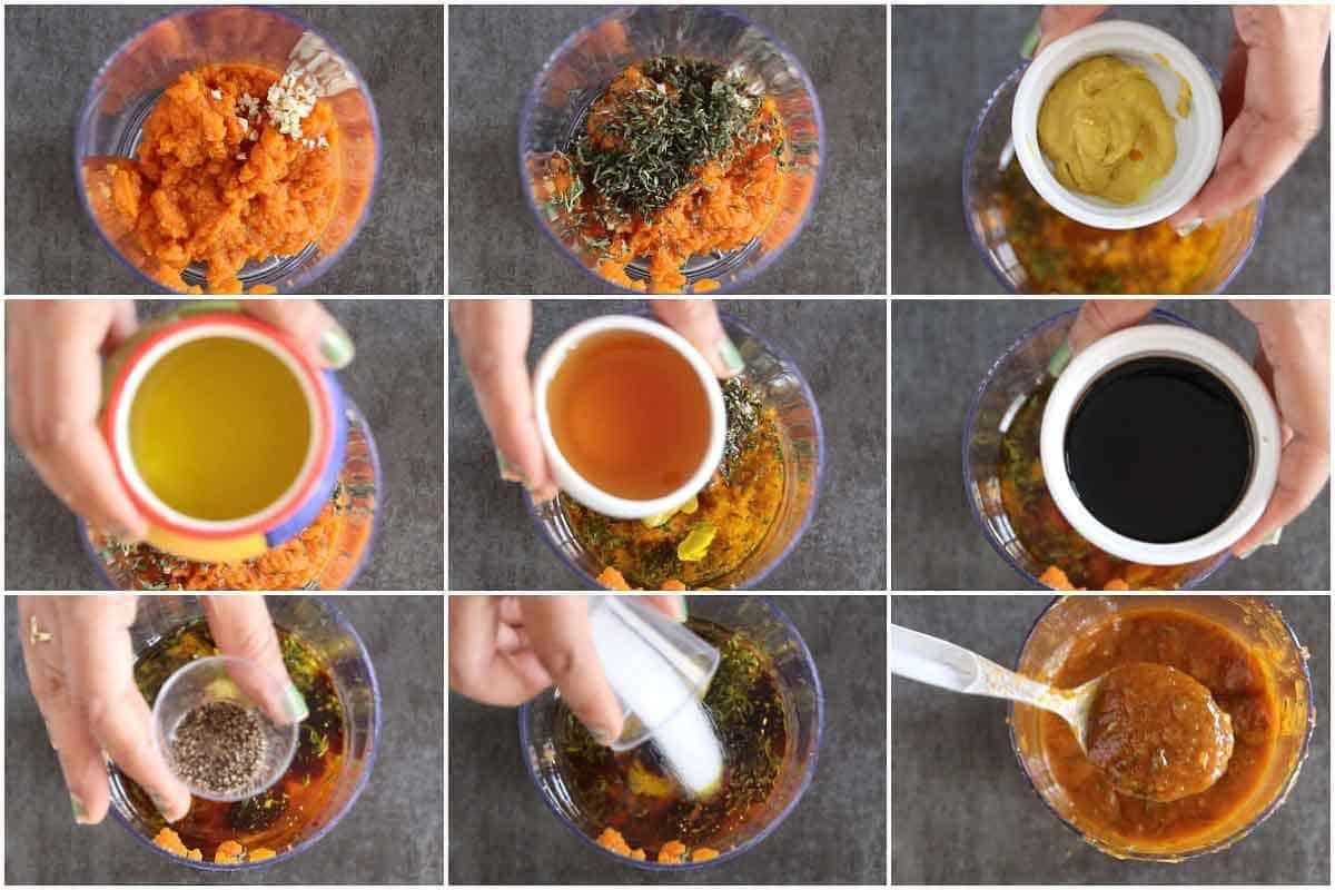 Step by step for pumpkin Vinaigrette