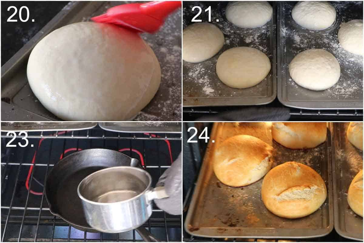 Baking homemade bread bowls in oven
