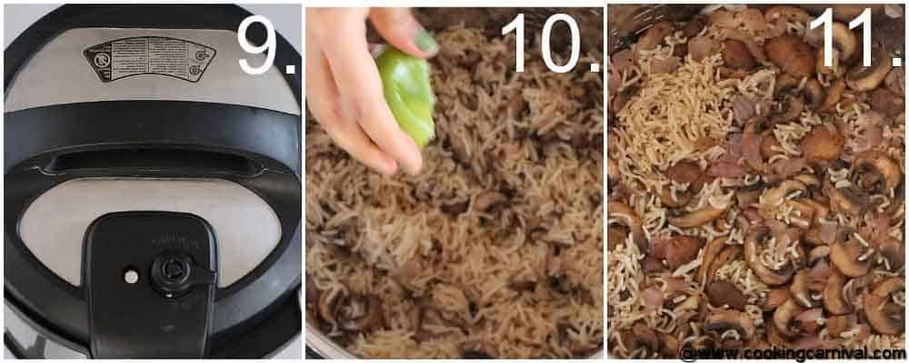 Step by step process for Instant pot Mushroom rice