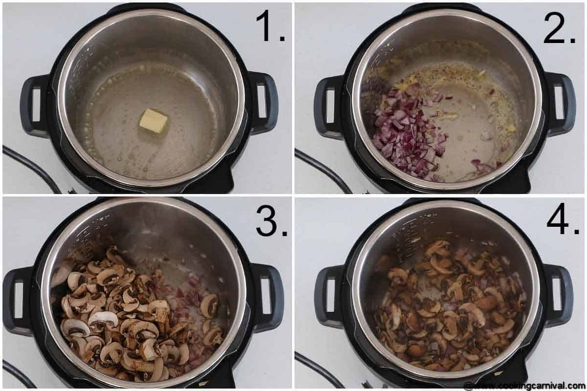 Step by step process for Mushroom rice