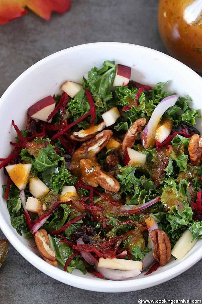 autumn salad in a white bowl