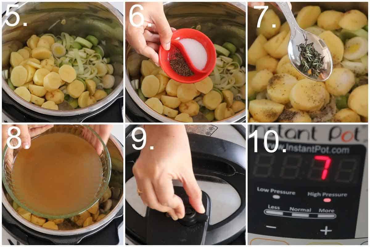 Step by step process of Leek Potato Soup