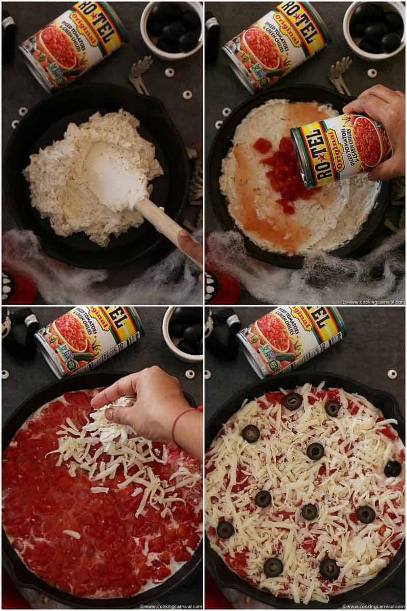 Step by step of Monster pizza dip