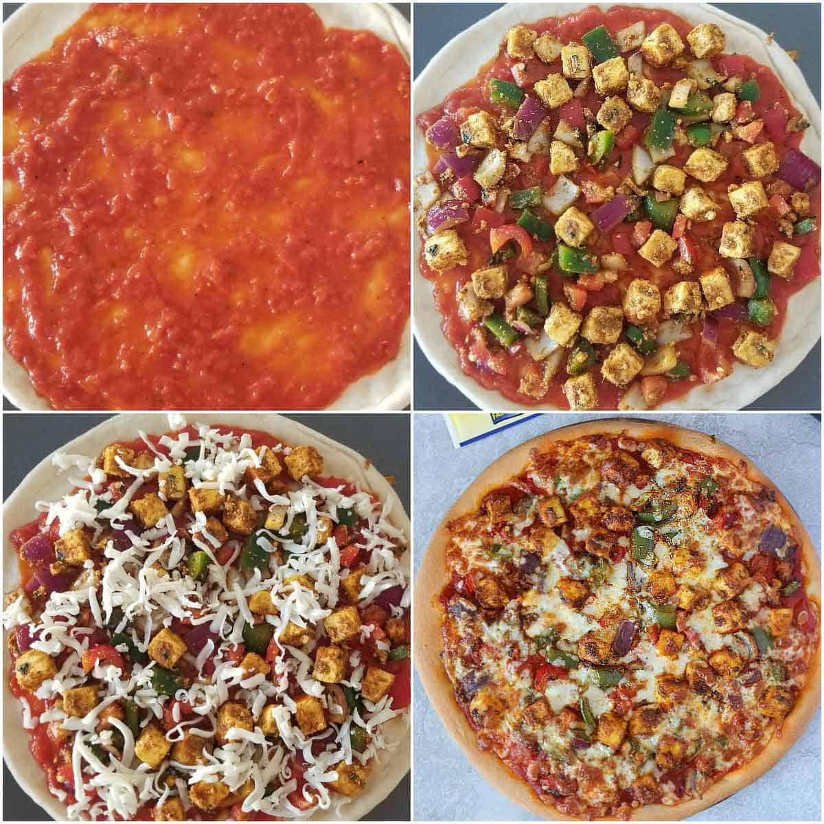 Step by step pics for Paneer Pizza 3