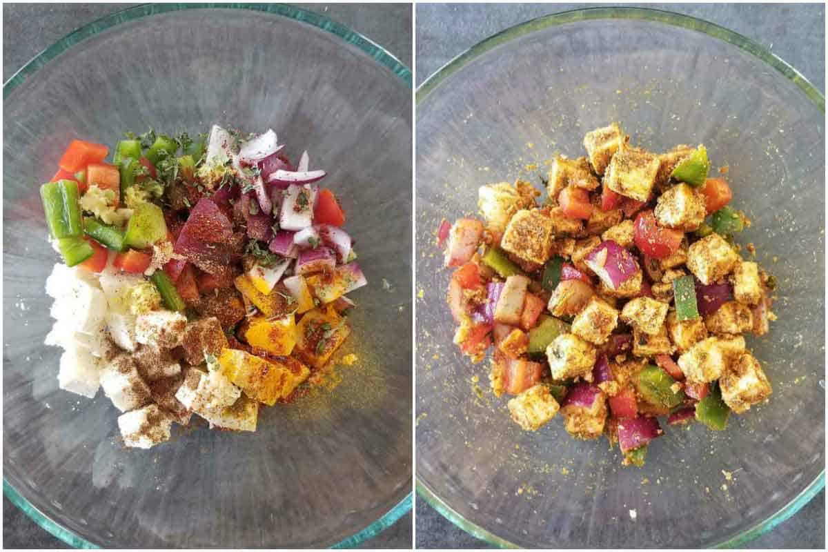 Step by step pics for Paneer Pizza