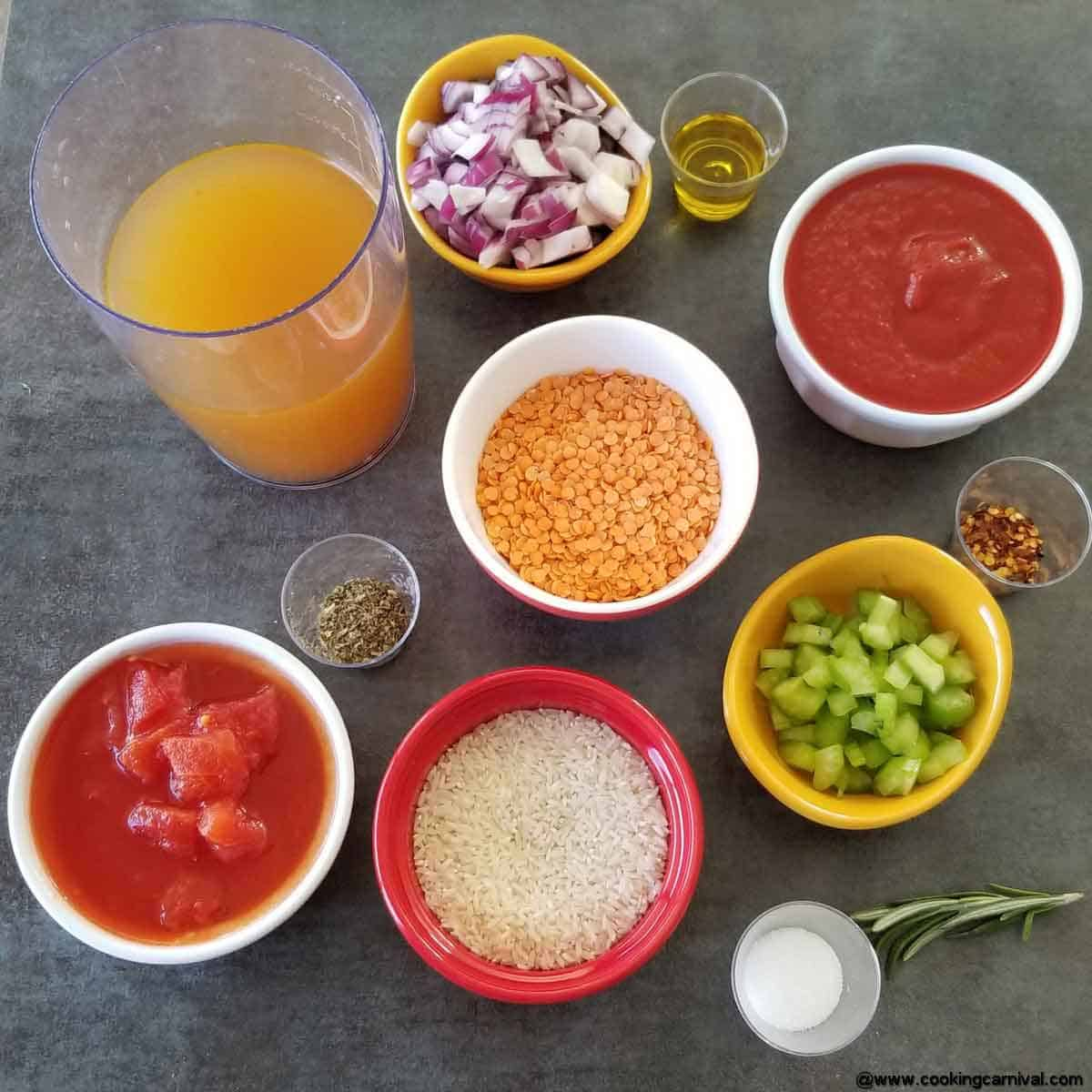 Ingredients for instant pot stuffed pepper soup