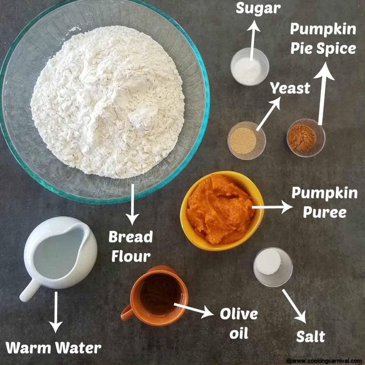 Ingredients for no knead bread pumpkin