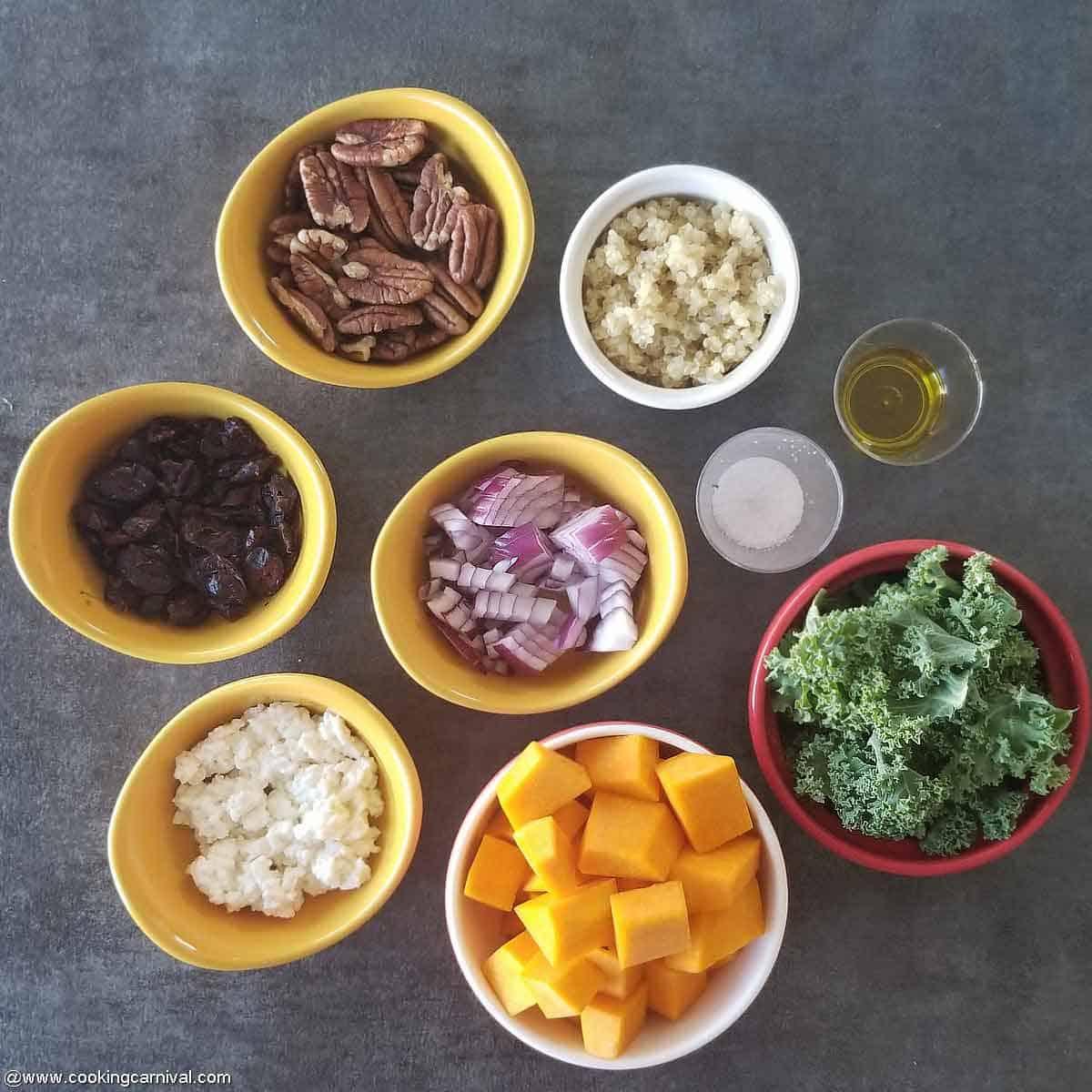 Roasted Butternut Squash Salad ingredients