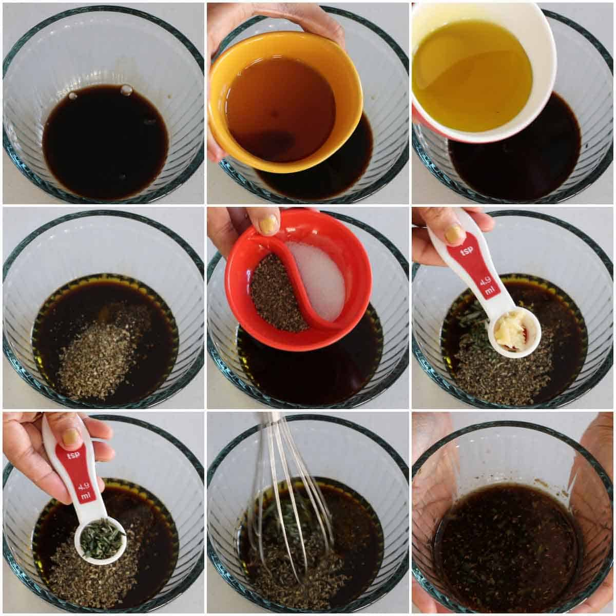 Step by step process of Balsamic Vinaigrette