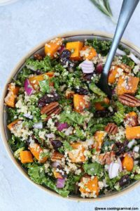 best Roasted Butternut Squash Fall Salad with Balsamic Vinaigrette on a gray board
