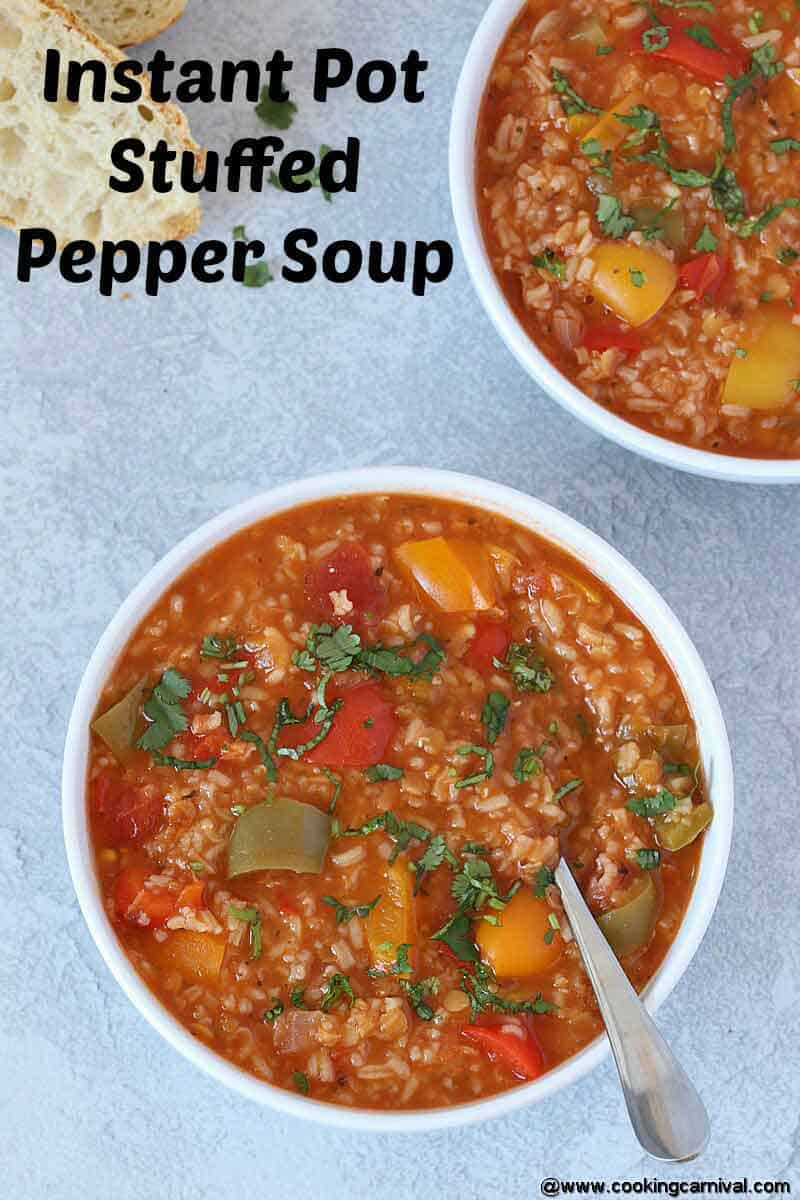 instant pot stuffed pepper soup in a white bowl with spoon