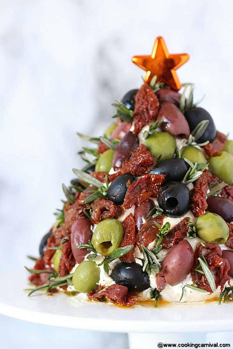 Antipasto Cheese Ball Christmas Tree