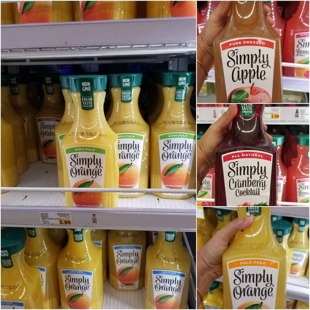 Simply juices in the freezer