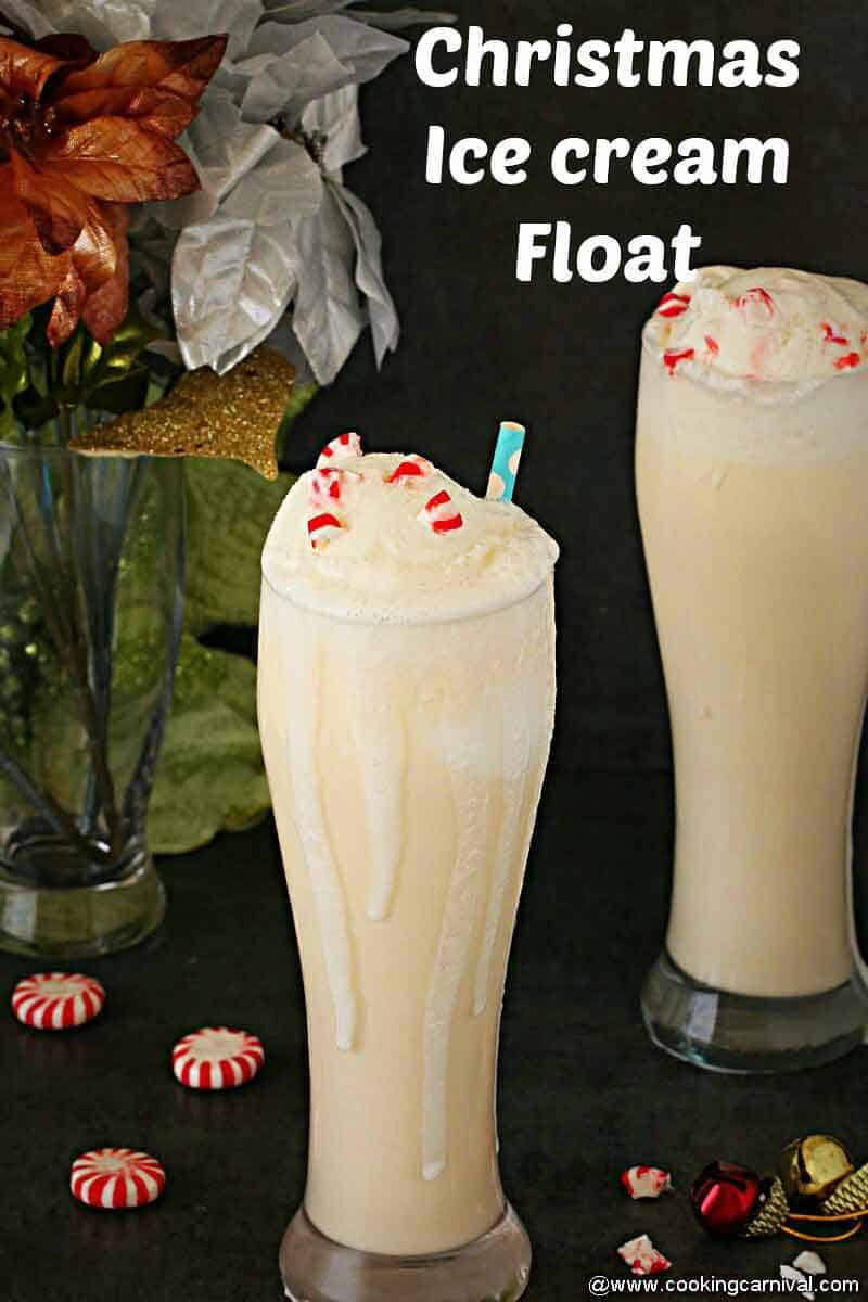 Ice cream float in a tall glass for christmas party