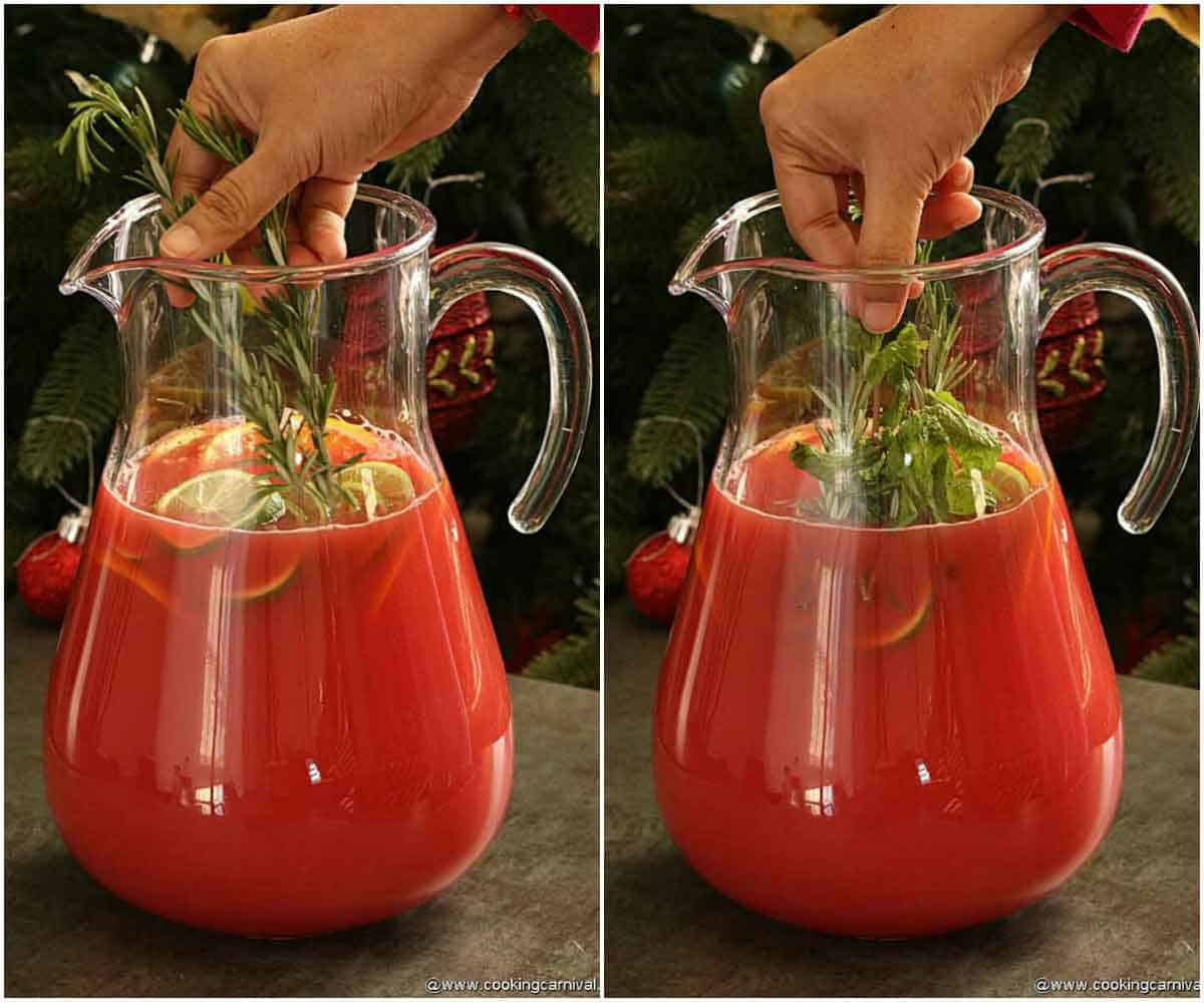 Adding rosemary and mint in orange and cranberry juice