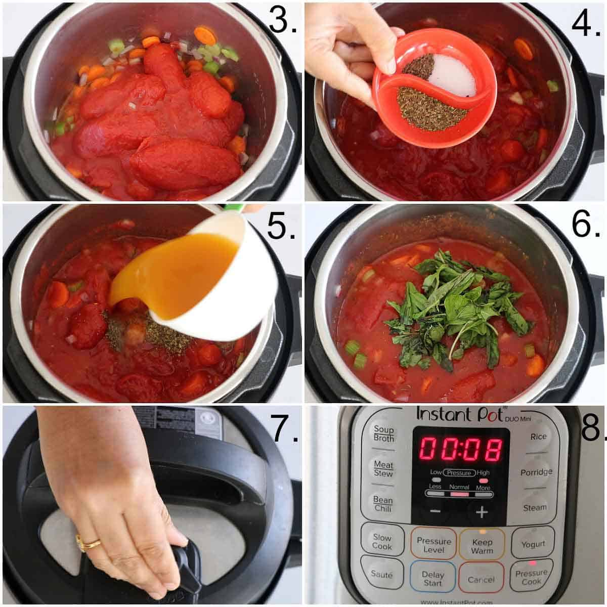 Step by step pictures of Instant pot tomato basil soup recipe