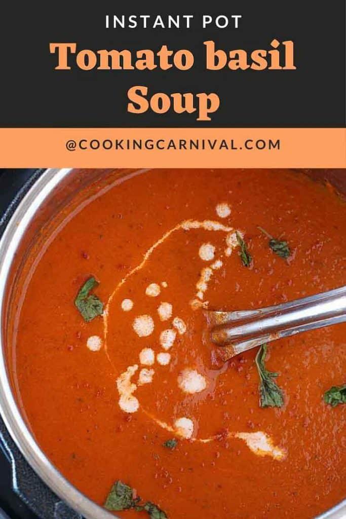 Tomato basil soup in instant pot 1