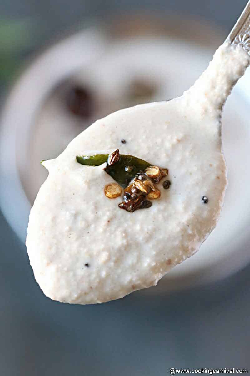 Close up shot of Peanut Chutney in spoon