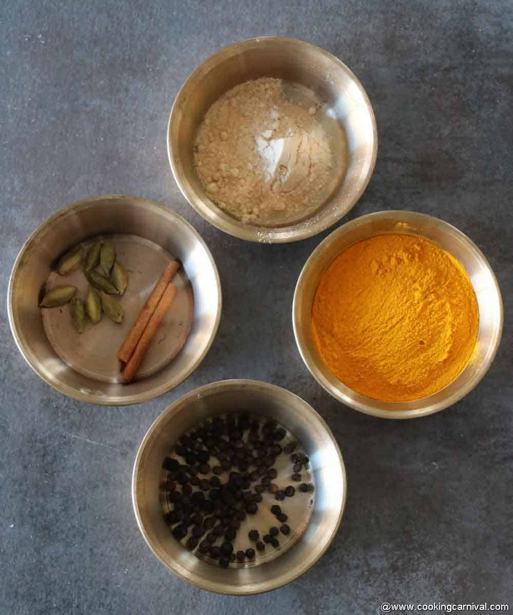 Pre-portioned ingredients for turmeric milk