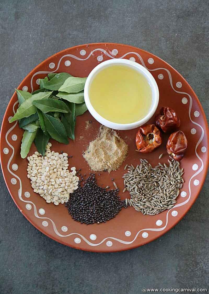 Ingredients for peanut chutney tempering
