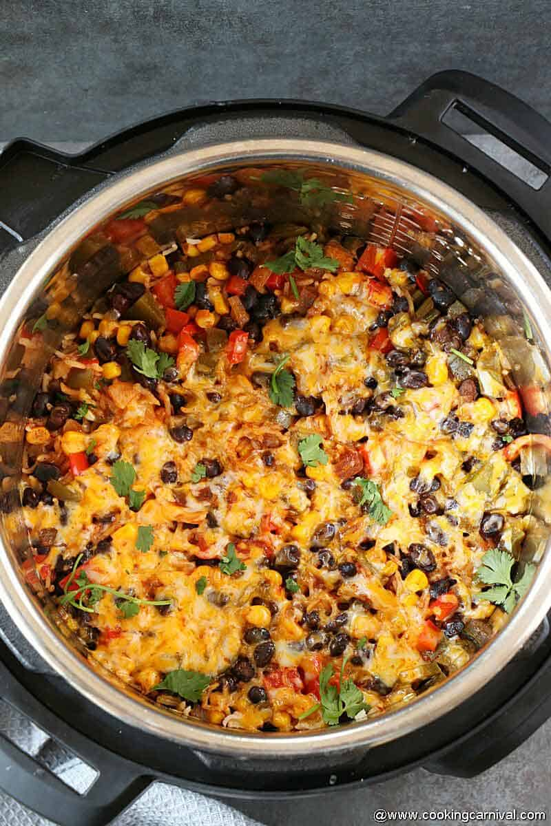 Enchilada Rice made in instant pot, top angle