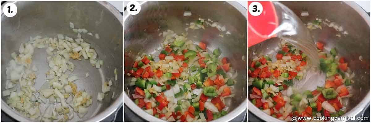 sauteing garlic, onion and bell peppers in oil in instant pot