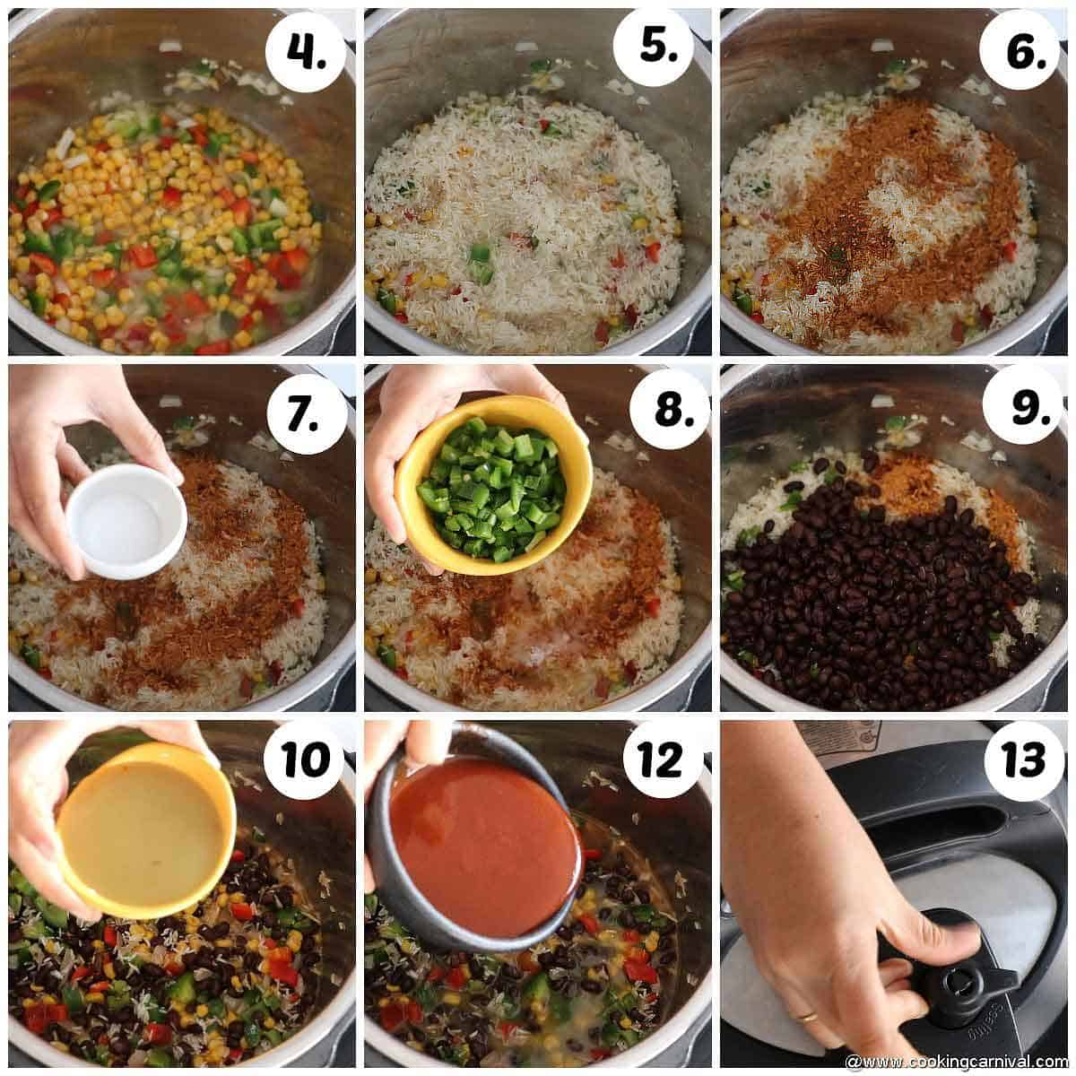 Adding corn, beans, jalapenos, rice, salt, Meican seasoning, red and green enchilada sauce in instant pot