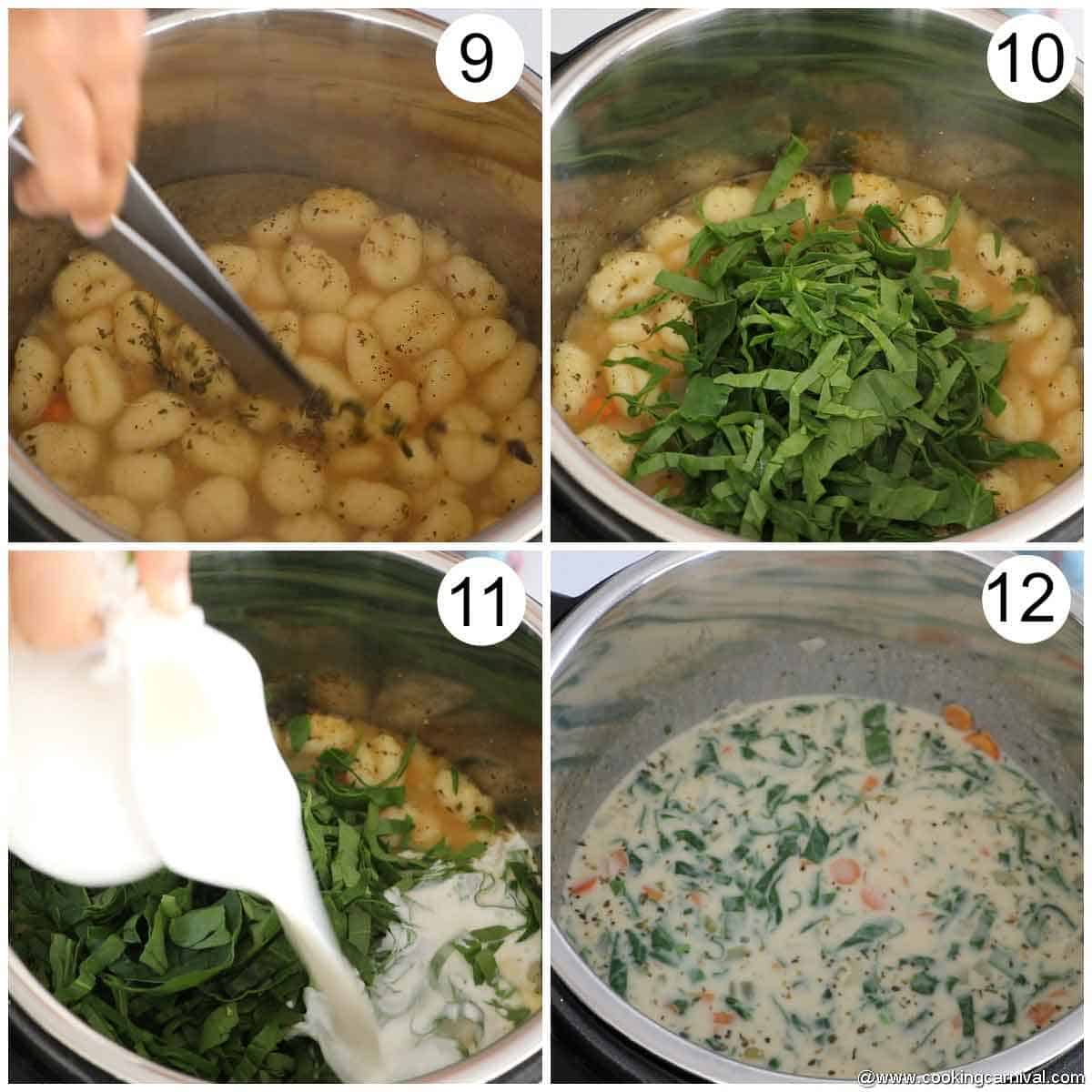adding spinach and cream in gnocchi soup