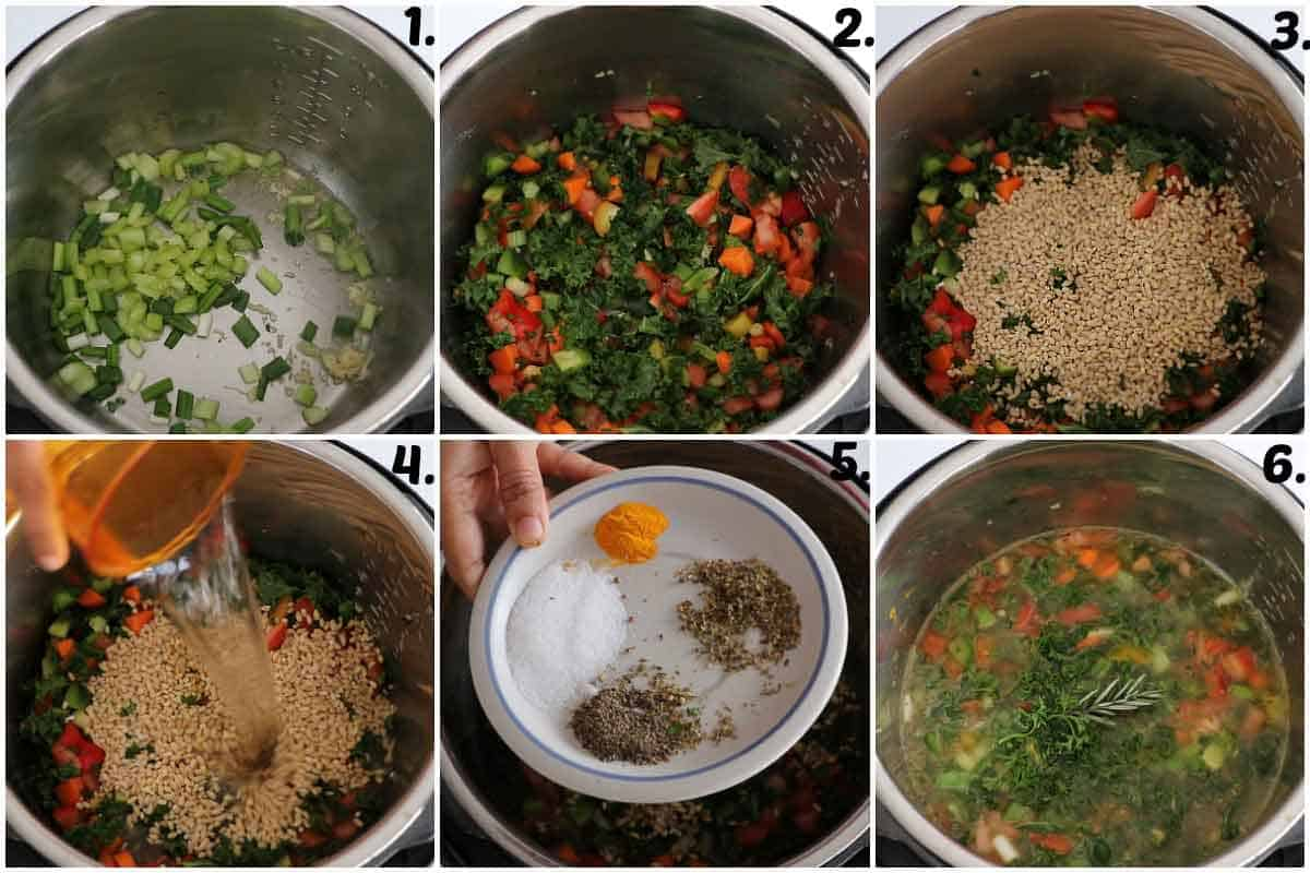 Step by step process of Instant Pot Barley Soup