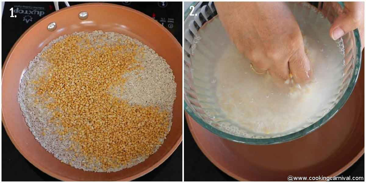 Step by step process of ven pongal recipe