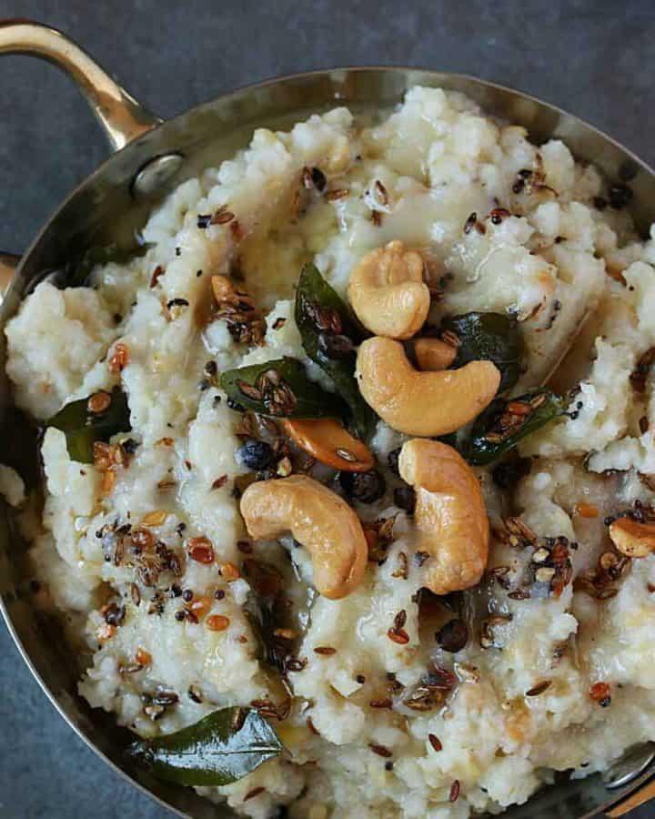 Khara Pongal served in steel bowl