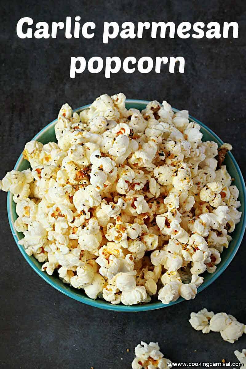 Final shot of garlic Parmesan popcorn