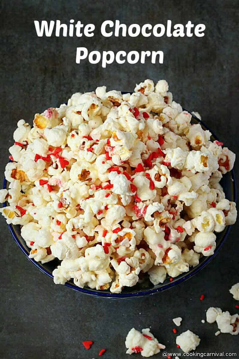 Final shot of White chocolate popcorn