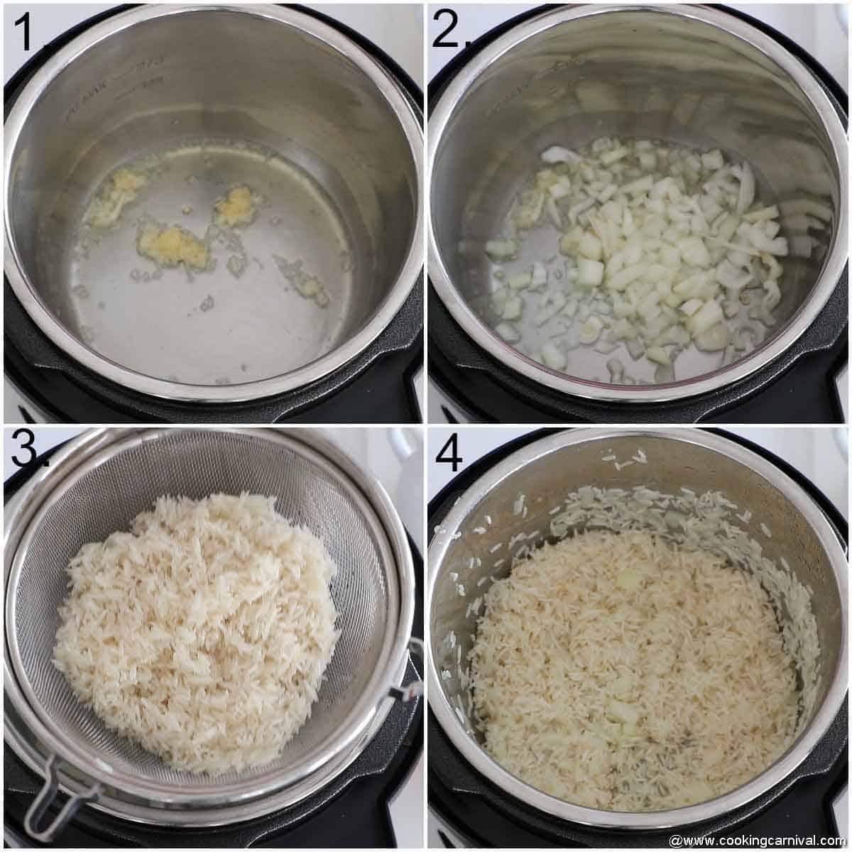 Adding oil, garlic, onion, rice in instant pot