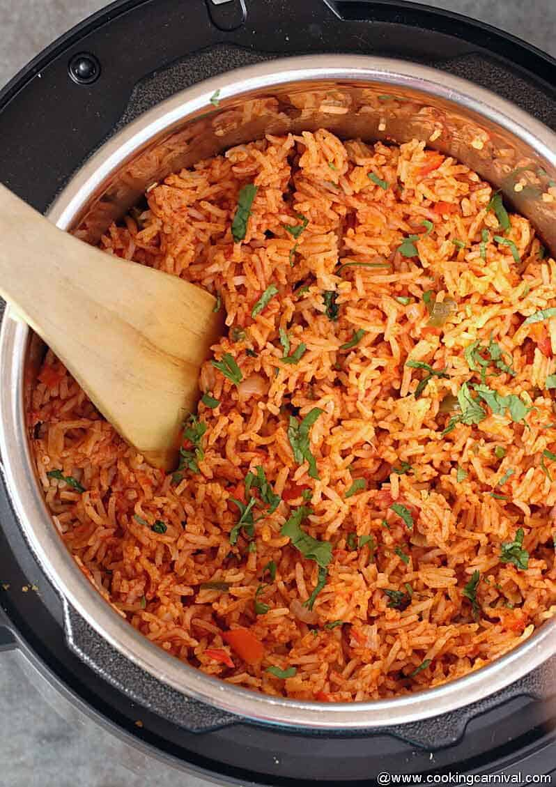Instant pot Mexican rice from top