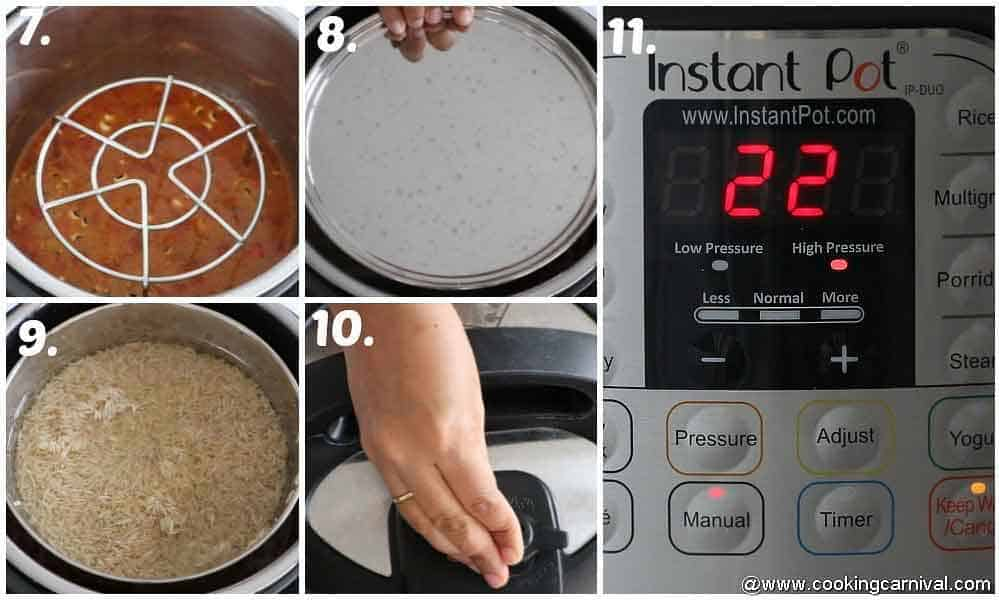 Placing brown rice in instant pot with pip method and pressing the manual button and setting the cooking time