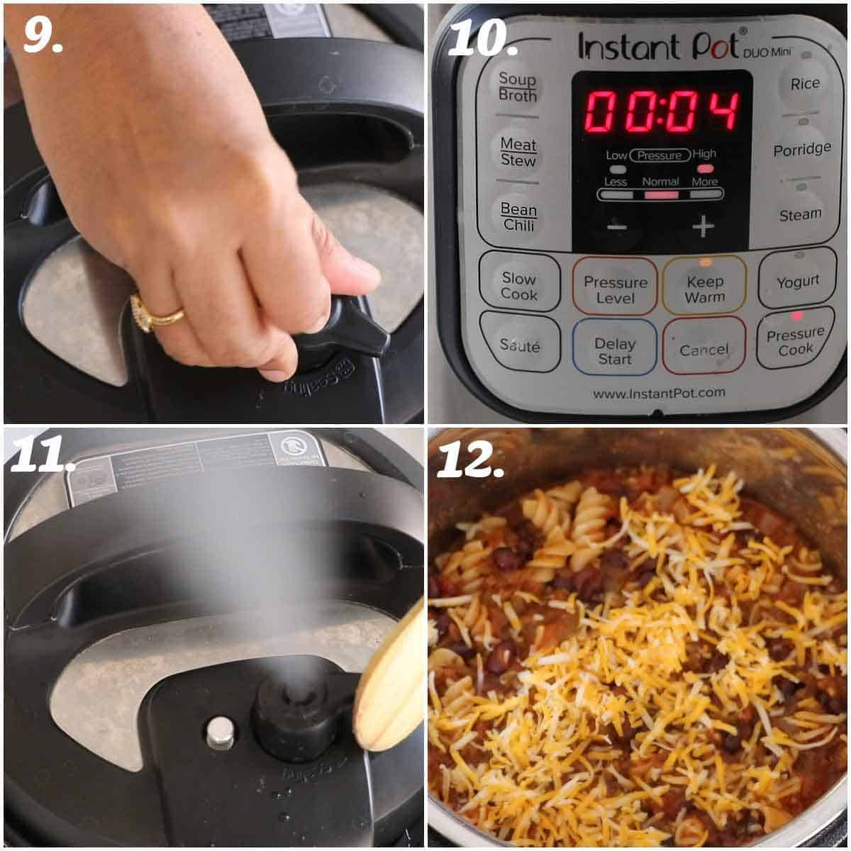 step by step process of taco pasta in instant pot