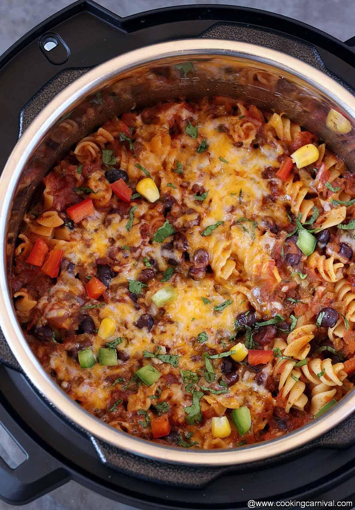 Taco pasta in instant pot