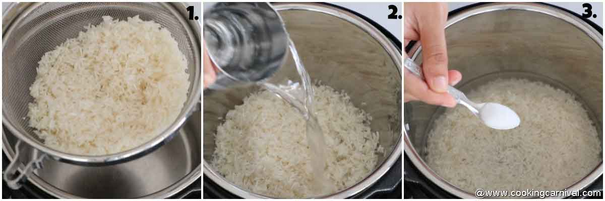 adding rice water and salt in the pot