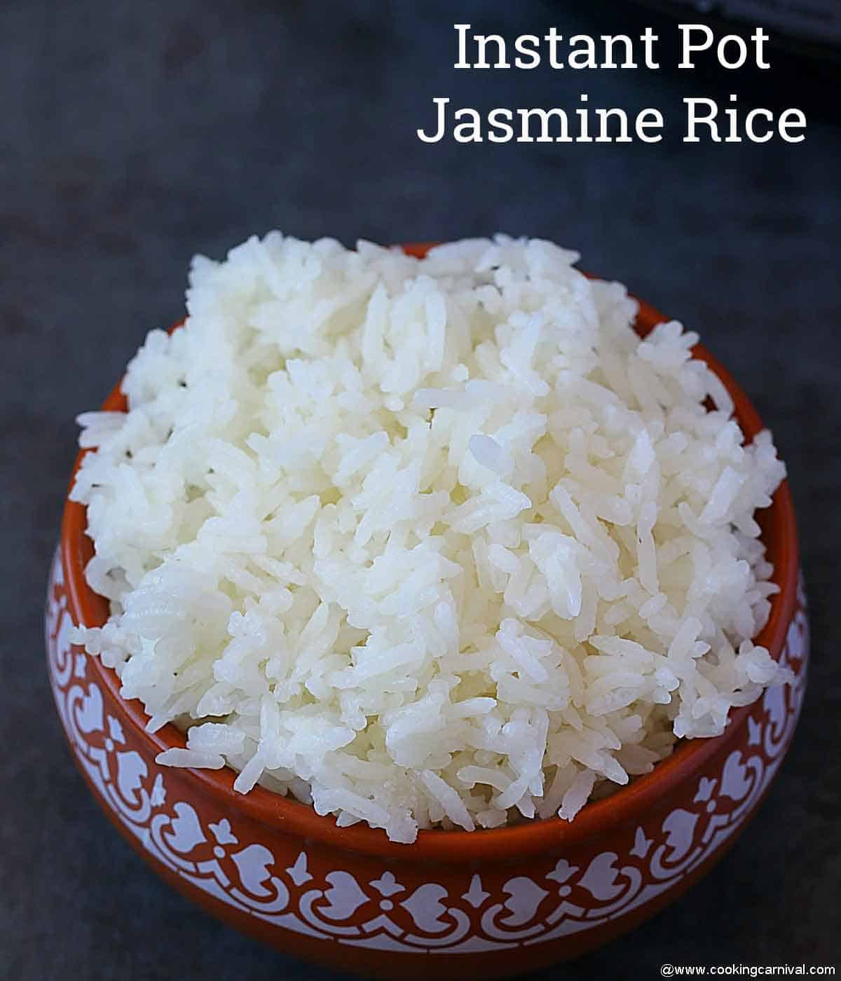 cooked Jasmine rice in a traditional bowl