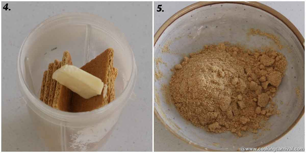 Crushed graham crackers and mixing butter for cheesecake crust