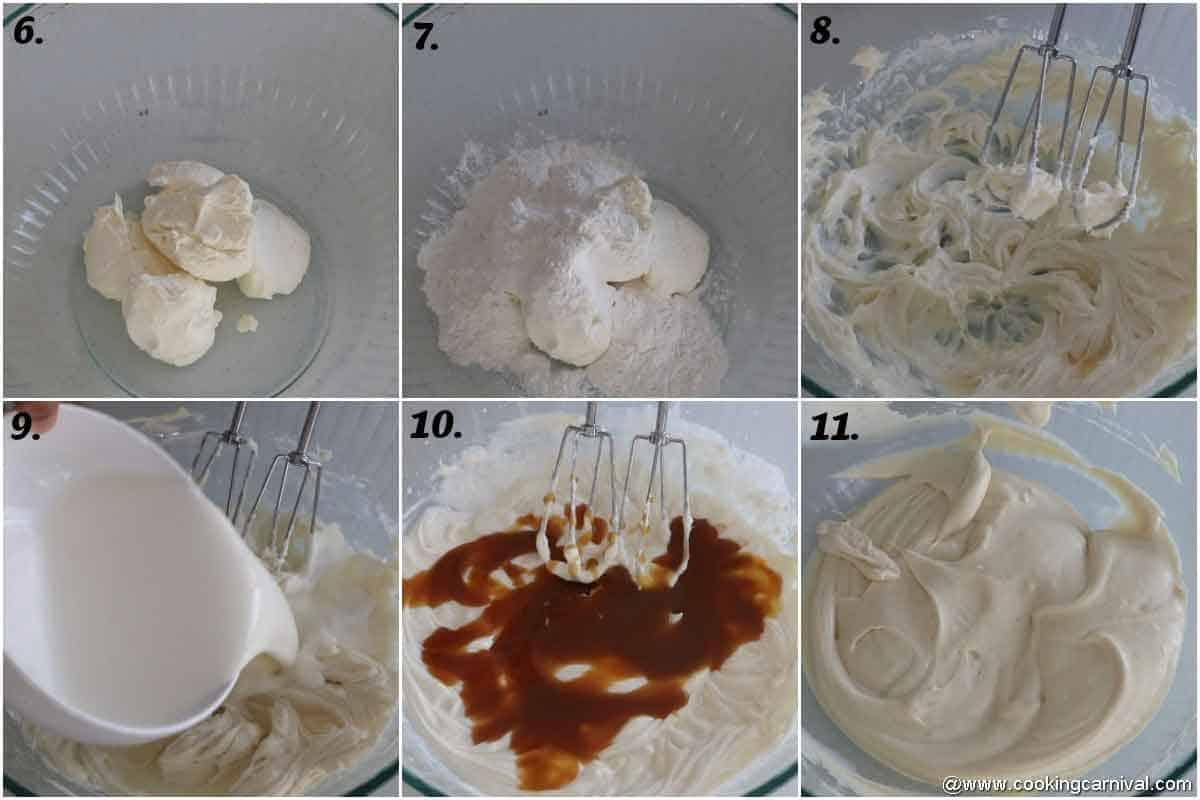 making caramel cheesecake filling