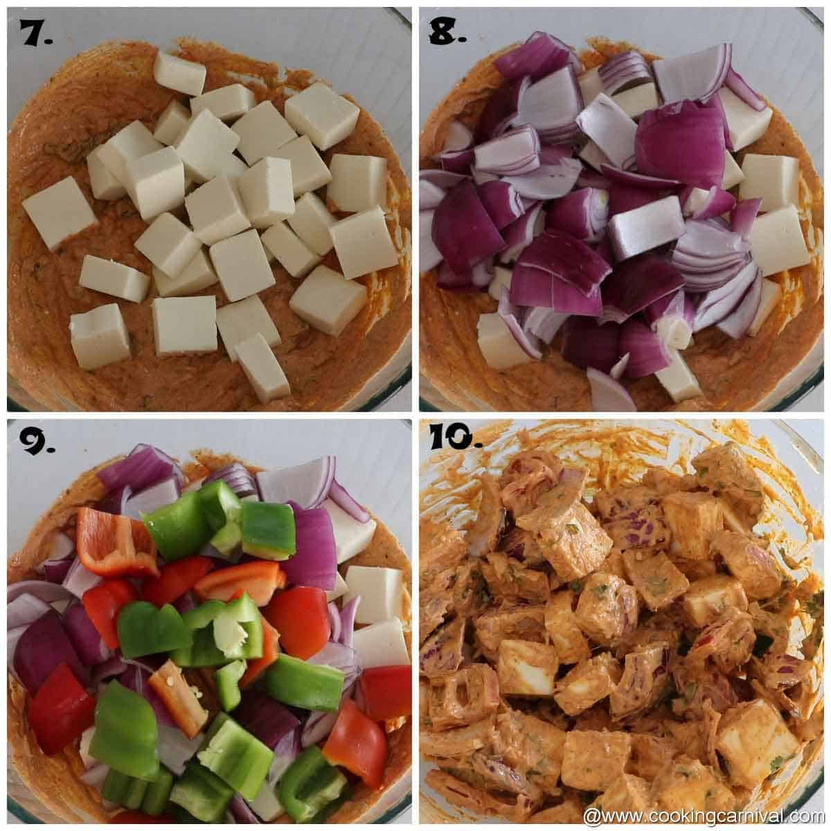 adding paneer, bell pepper and onion in spiced yogurt marination