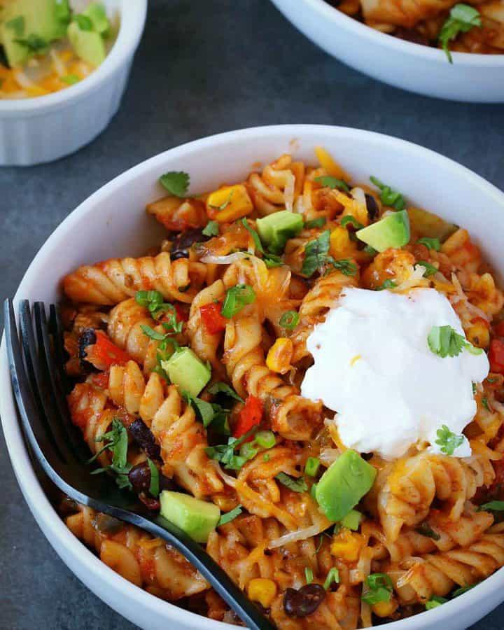 taco pasta served in white bowl