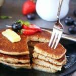Taking pancake bite with fork