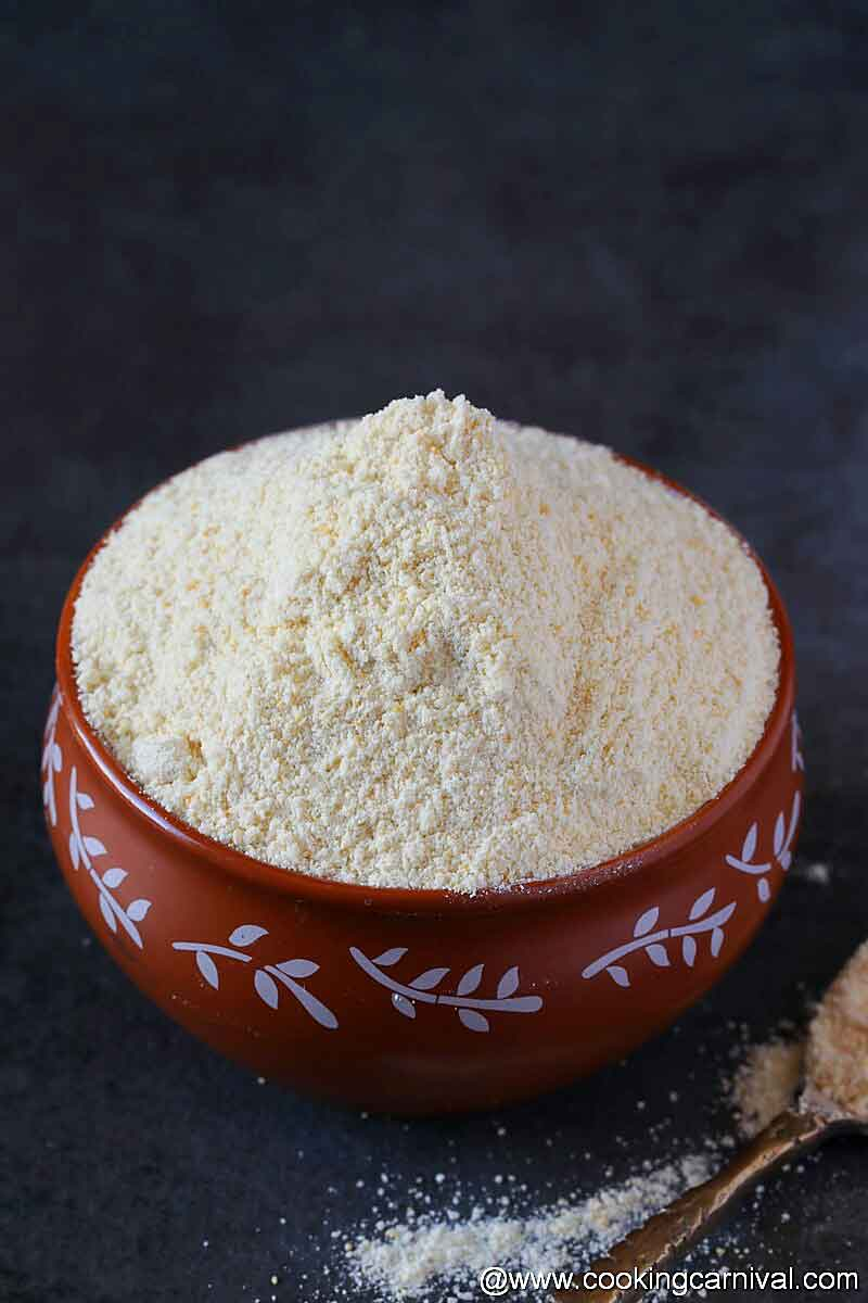 Dhokla flour in a traditional bowl
